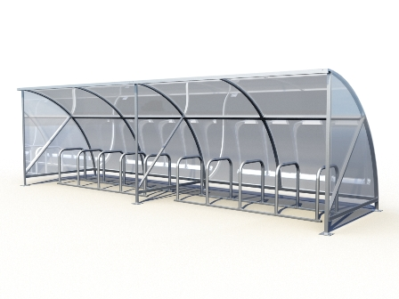 20 bike shelter extended as a continuous row